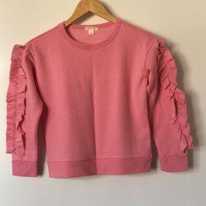 NWOT Crewcuts pink girl ruffled sweatshirt size 8